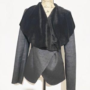 Aqua Black draped jacket cardigan small